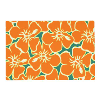 Orange Hibiscus Tropical Flowers Hawaiian Luau Placemat