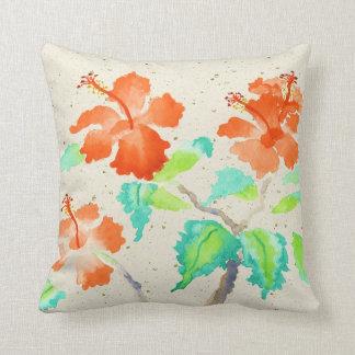 Orange Hibiscus Watercolor Painting Beige Washi Pillows