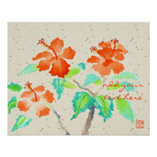 Orange Hibiscus Watercolor Painting Beige Washi Poster