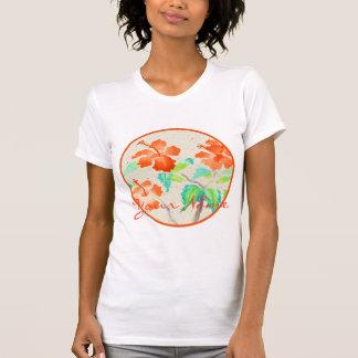 Orange Hibiscus Watercolor Painting Beige Washi T Shirt