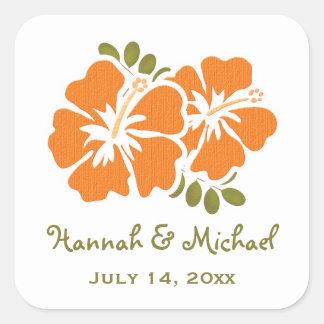 Orange Hibiscus Wedding Favor Sticker Seal