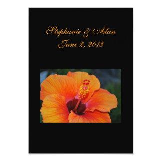 Orange Hibiscus Wedding Invitation
