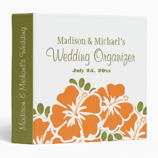 ORANGE Hibiscus Wedding Planner Organizer 3 Ring Binder