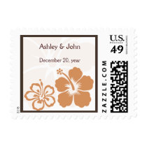 orange hibiscus wedding postage