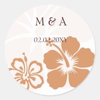 orange hibiscus wedding stickers