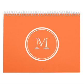 Orange High End Colored Monogrammed Calendar