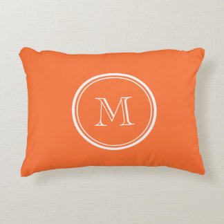 Orange High End Colored Monogrammed Decorative Pillow