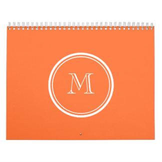 Orange High End Colored Monogrammed Wall Calendar