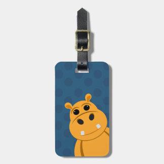 Orange Hippo Luggage Tag