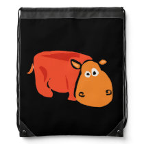 Orange Hippo Primitive Art Backpack