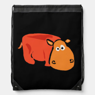 Orange Hippo Primitive Art Backpack