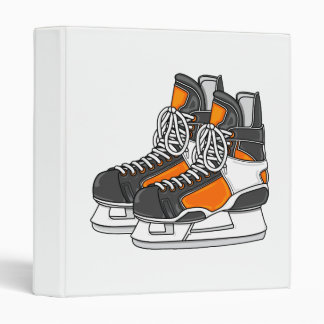 Orange Hockey Skates 3 Ring Binder