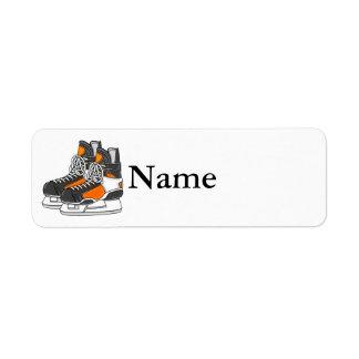 Orange Hockey Skates Custom Return Address Label