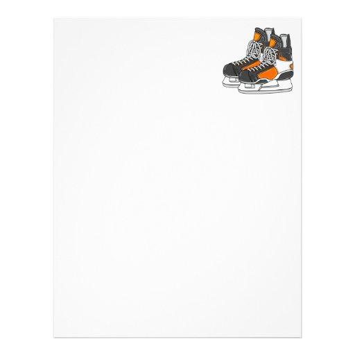 Orange Hockey Skates Personalized Letterhead