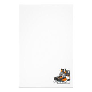 Orange Hockey Skates Personalized Stationery