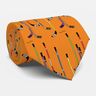 Orange Hockey Sticks Neck Tie