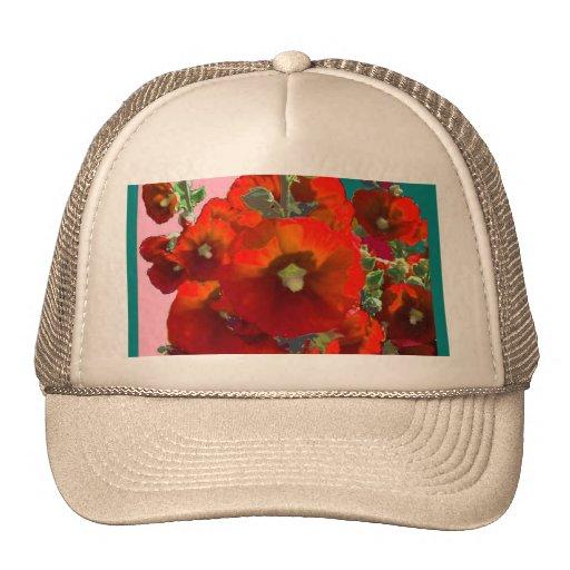 Orange Hollyhock Garden Gifts Mesh Hat