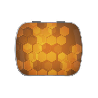 Orange honeycomb hexagon pattern jelly belly candy tins