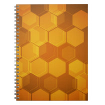 Orange honeycomb hexagon pattern notebook