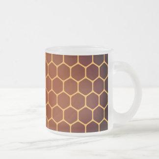Orange honeycomb pattern frosted glass coffee mug