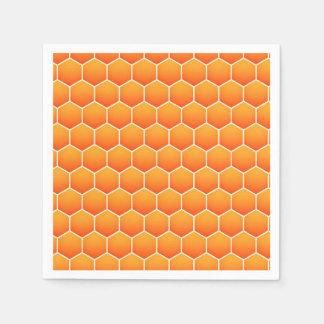 Orange honeycomb pattern paper napkin