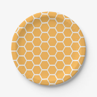 Orange honeycomb pattern paper plate