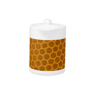 Orange Honeycomb Pattern Teapot