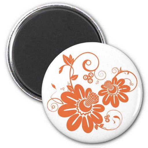 Orange Honeysuckle Bloom and Vine Fridge Magnets