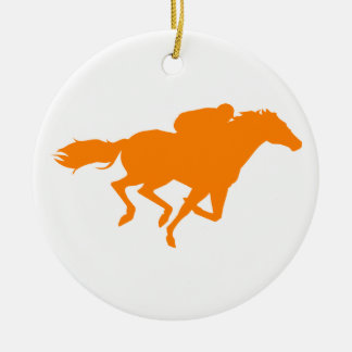 Orange Horse Racing Ceramic Ornament