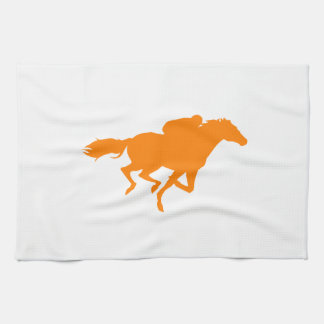 Orange Horse Racing Hand Towel