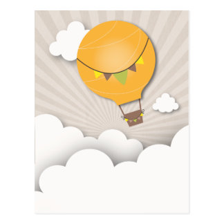 Orange Hot Air Balloon Birthday Party Postcard