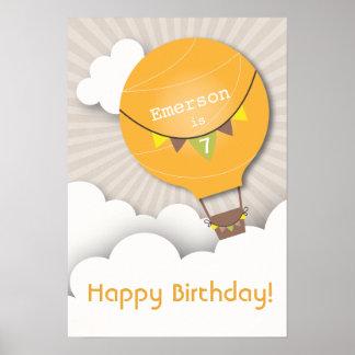 Orange Hot Air Balloon Birthday Poster