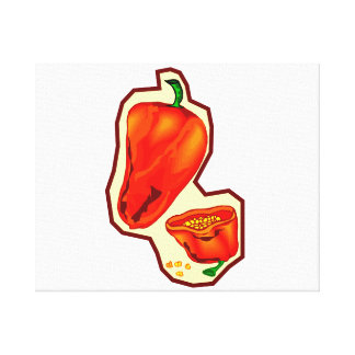 Orange hot peppers one cut in half graphic canvas print