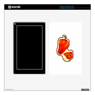 Orange hot peppers one cut in half graphic kindle fire skins