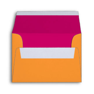 Orange & Hot Pink A-2 RSVP Return Address Envelope