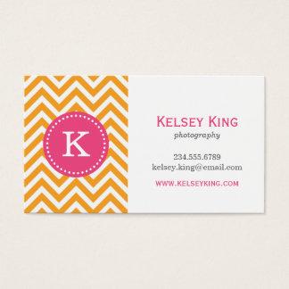 Orange & Hot Pink Chevron Custom Monogram Business Card