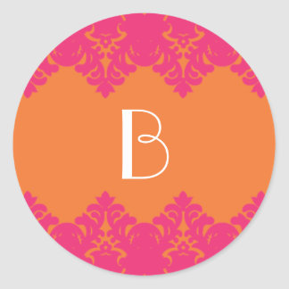 Orange & Hot Pink Damask Monogram Sticker