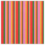 [ Thumbnail: Orange, Hot Pink, Dark Green, and Red Pattern Fabric ]