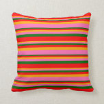 [ Thumbnail: Orange, Hot Pink, Dark Green, and Red Pattern Throw Pillow ]