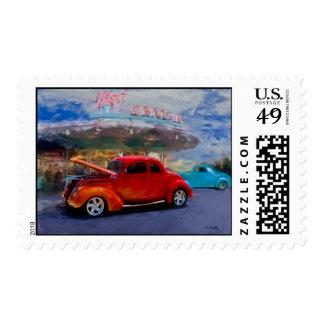 orange hotrod at drive-in stamp
