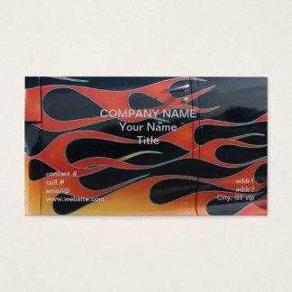 orange hotrod flames on black business card