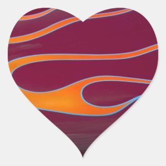 orange hotrod flames on burgundy heart sticker