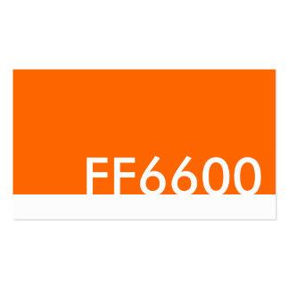 orange html color code FF6600 Business Card Template