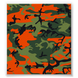 Orange Hunter Camo Poster