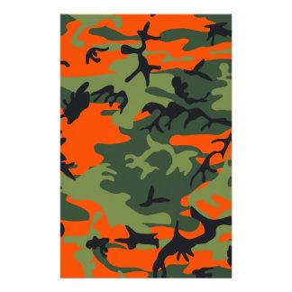 Orange Hunter Camo Stationery Paper
