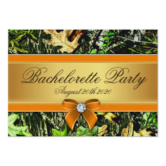 """Orange Hunting Camo Bachelorette Party Invitations 5"""" X 7"""" Invitation Card"""