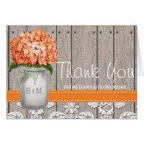 Orange Hydrangea Monogram Mason Jar THANK YOU