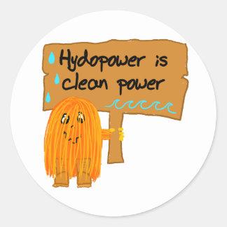orange hydropower is clean power round sticker