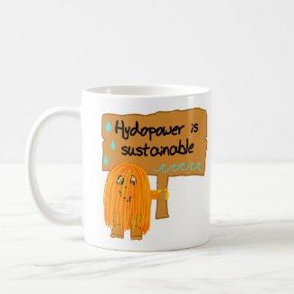 orange hydropower is sustainable mug