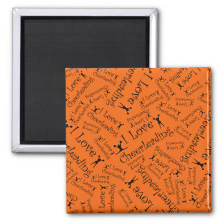 Orange I love cheerleading 2 Inch Square Magnet